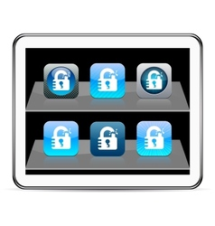 Unlock blue app icons vector