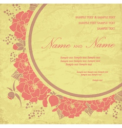 Vintage wedding invitation with flowers vector image vector image