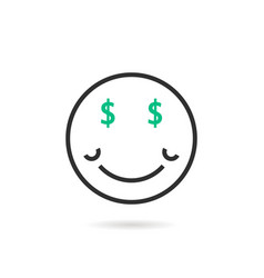 Wealthy thin line emoji icon with shadow vector