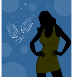 wine glass and lady vector image vector image