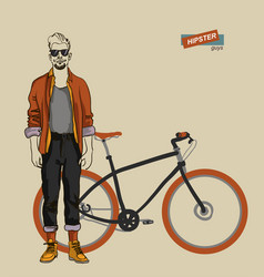 young man on a bike vector image