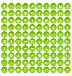 100 bbq icons set green vector