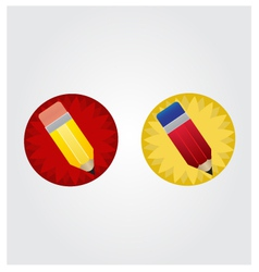 Yellow and red pencil on red and yellow star disk vector