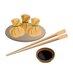 Three wontons on plate and soy sauce with sticks vector