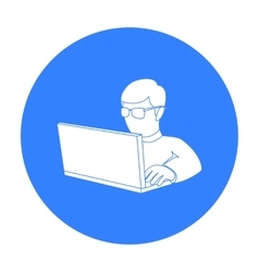 Computer hacker icon in outline style isolated on vector