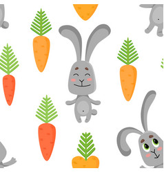 seamless pattern with cute rabbits in various vector image