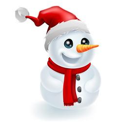 Santa hat christmas snowman vector