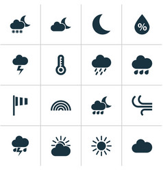 Weather icons set collection of flag night vector