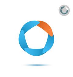 Five segmented circle o letter logo vector