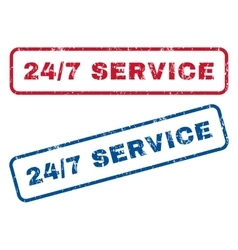 24-7 service rubber stamps vector