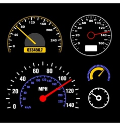 Speedometers set on black background vector