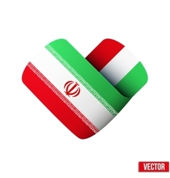 Flag icon in the form of heart i love iran vector