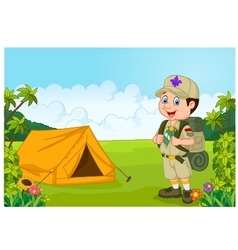 Cartoon little boy scout with tent vector image
