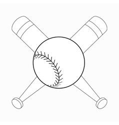Baseball bats and ball icon isometric 3d style vector