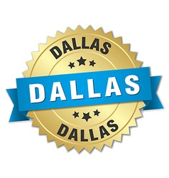 Dallas round golden badge with blue ribbon vector