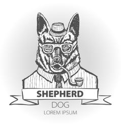 German dog shepherd hipster smokes a pipe in a vector