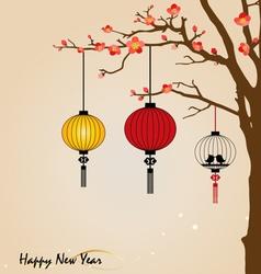 Big traditional chinese lanterns will bring good vector
