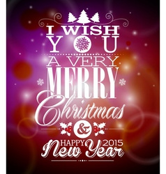 Christmas backgroun with typographic design vector