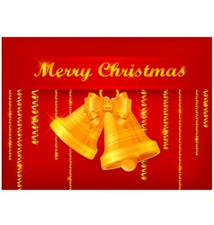 christmas yellow bell red background 10 SS v vector image vector image