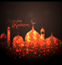 Creative mosque design made with sparkles vector
