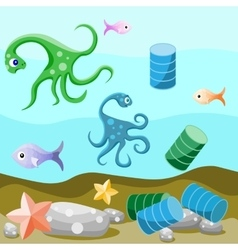 Deep-sea life and pollution of the environment vector