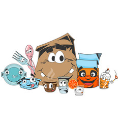 disposable tableware cartoon style vector image