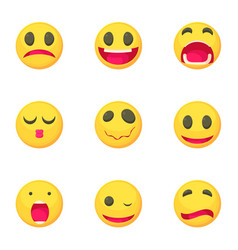 emoticons icons set cartoon style vector image