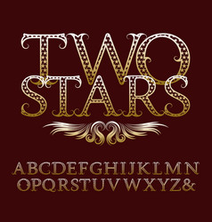 gold patterned letters with tendrils vintage font vector image vector image