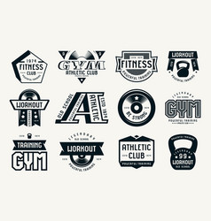 Gym club fitness and workout badges vector