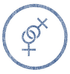 lesbian love symbol rounded fabric textured icon vector image