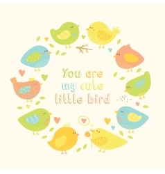 Lovely frame with cartoon cute birds hearts and vector image