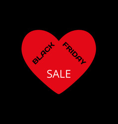 red heart with words - black friday and sale on a vector image