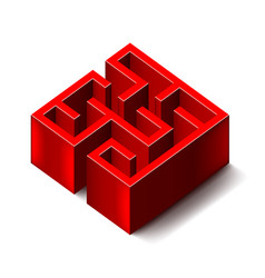 Red labyrinth isolated on white vector