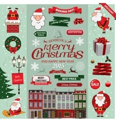 Set of Christmas decorative design elements in vector image vector image