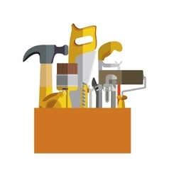 silhouette color with hand tools in wooden box vector image