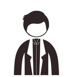 Silhouette half body man with jacket vector