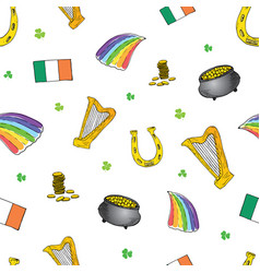 St patricks day hand drawn doodle seamless vector