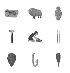 Stone age set icons in monochrome style big vector