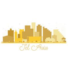 Tel aviv israel city skyline golden silhouette vector