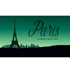 The eiffel tower in paris of silhouette vector