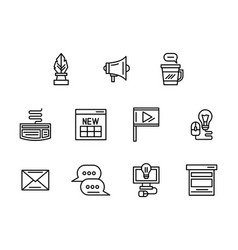 Web blog black line icons set vector