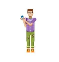 Isolated of european man in purple vector