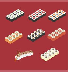 japanese sushi roll set vector image