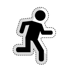 man running silhouette emblem icon vector image