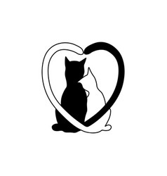 Silhouette of cat couple in love with shape heart vector