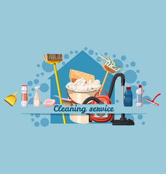 cleaning service banner horizontal cartoon style vector image