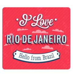 Vintage greeting card from rio de janeiro vector