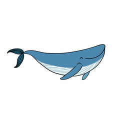 a small cartoon whale vector image