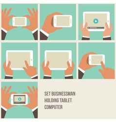set of flat hand icons holding various hi-tech vector image