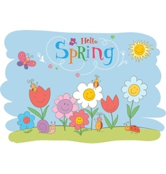 Hello spring cute greeting card vector